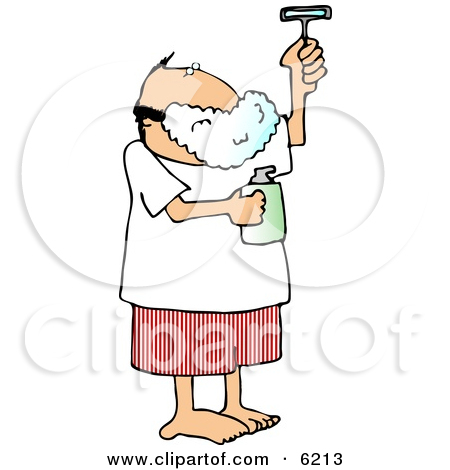 Man Shaving His Face with a Razor Clipart Picture by Dennis Cox #6213.