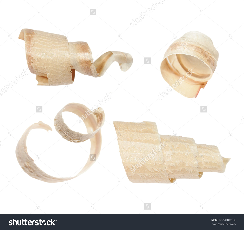 Wood Shavings Isolated On White Background Stock Photo 270104150.