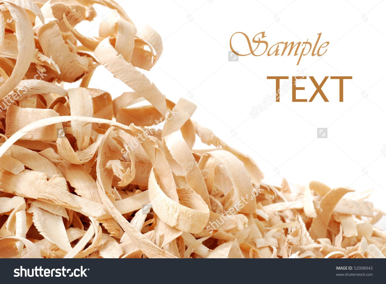 Wood Shavings On White Background Copy Stock Photo 52098943.