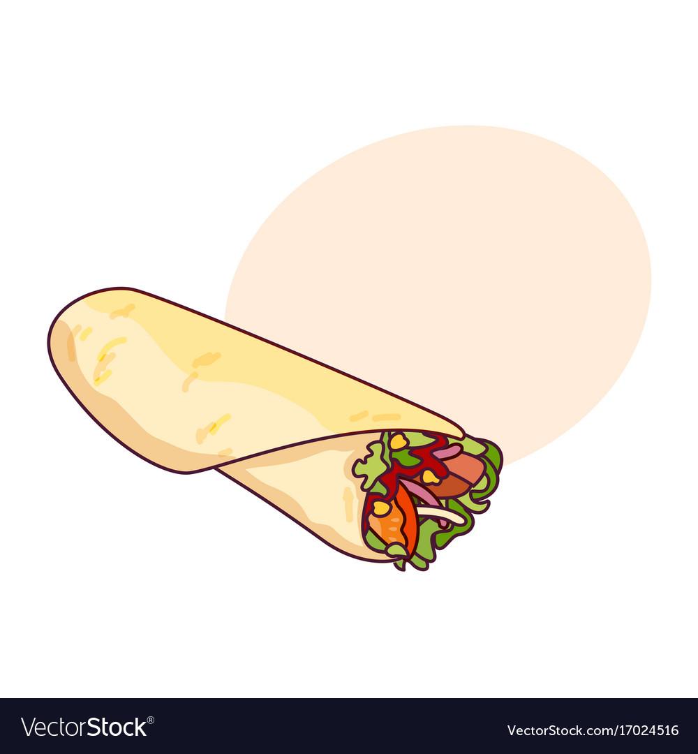 Fast food roll shawarma taco.