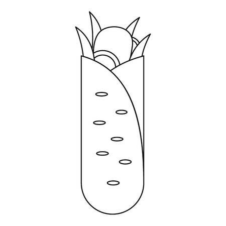 Shawarma icon. Outline illustration of Shawarma vector icon.