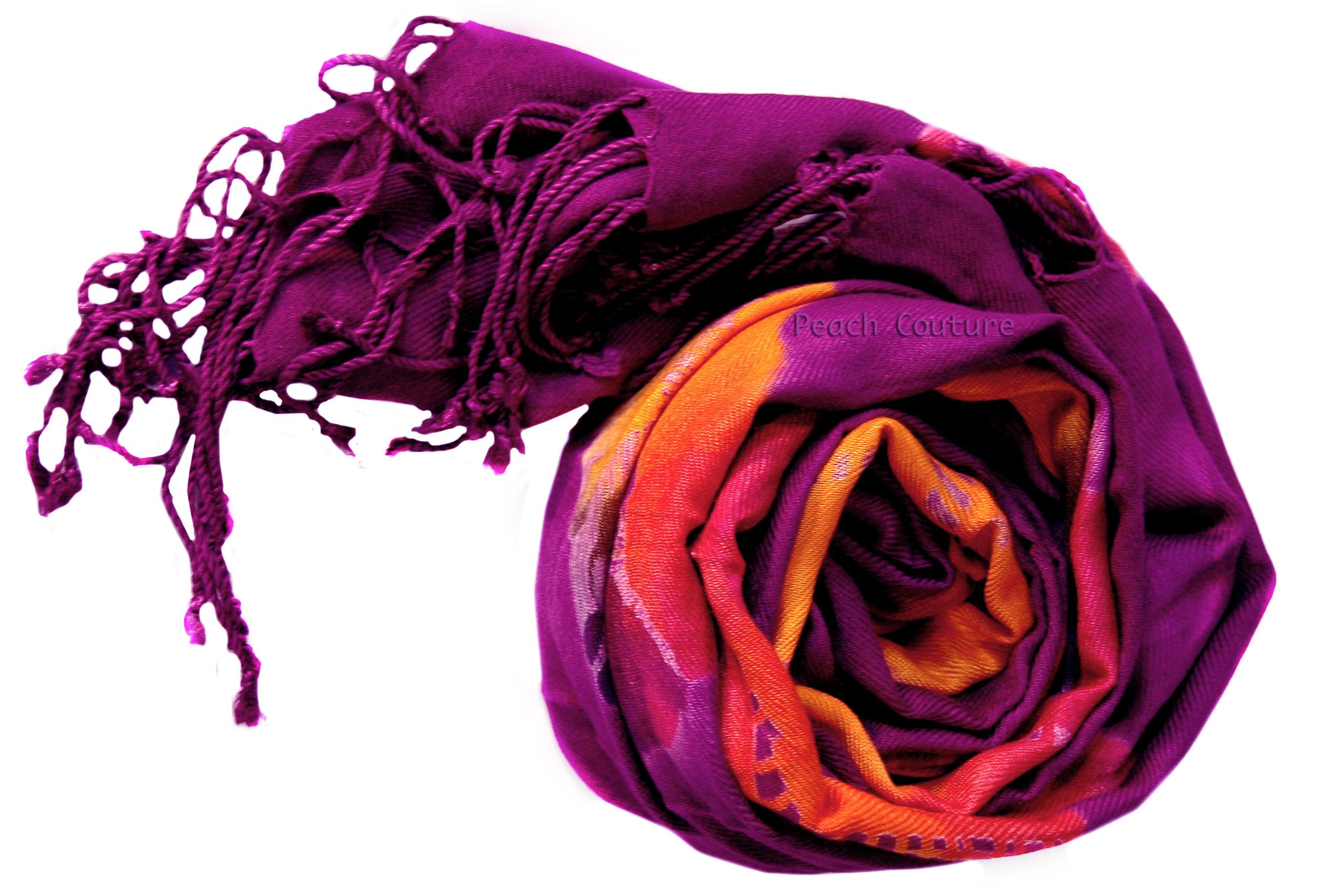 Peach Couture Fashion Scarves Tie Dye Shawls Scarves Pashminas.