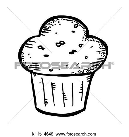 Clip Art of vector black and white cupcakes icons k15714506.