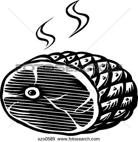 Clipart of A black and white drawing of roast beef ready to be.