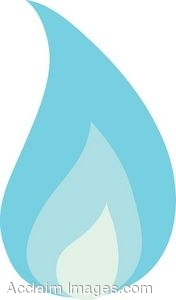 Clip Art of a Blue Flame.