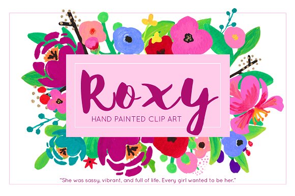 Roxy Painted Flower Clip Art Acrylic ~ Illustrations on Creative.