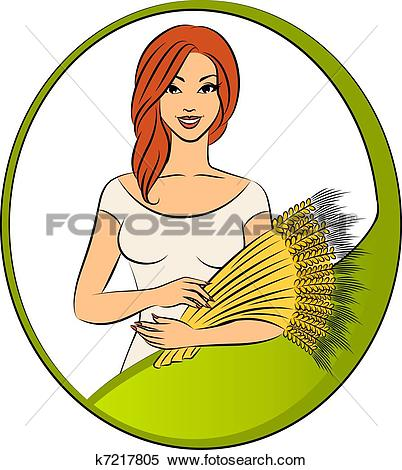 Stock Illustration of Beautiful girl with sheaf of wheat k7217805.