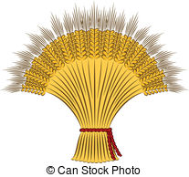 Vector Clip Art of Beautiful girl with sheaf of wheat. Vector.