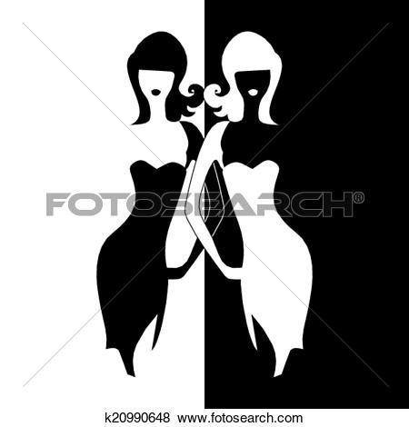 Clip Art of silhouette girl model sheath dress k20990648.
