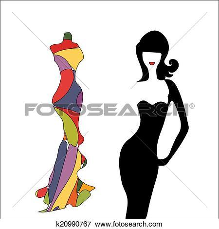 Clip Art of silhouette girl model sheath dress k20990649.