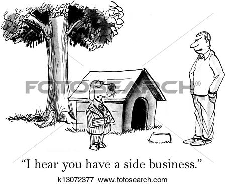 Stock Illustration of Dog prefers to bark his company name.