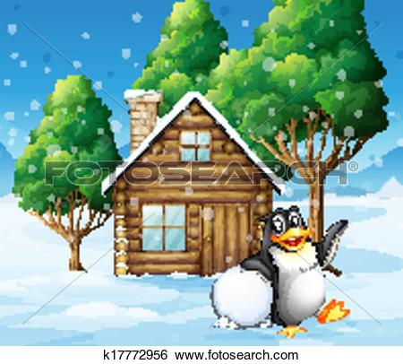 Clip Art of A penguin in front of the wooden house k17772956.