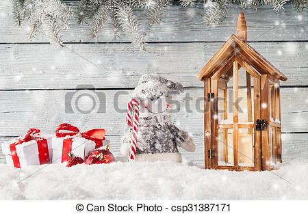 Picture of Christmas still life decoration with wooden background.