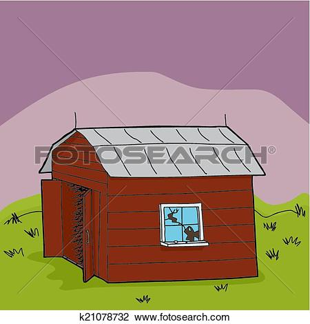 Clipart of Abandoned Farm Shed k21078732.