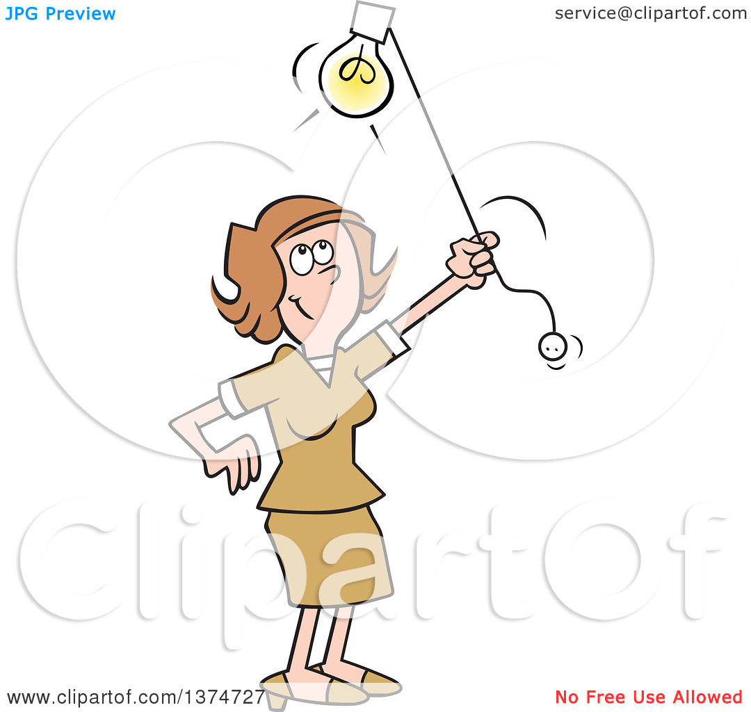 Clipart of a Cartoon Happy Brunette White Woman Shedding Light on.