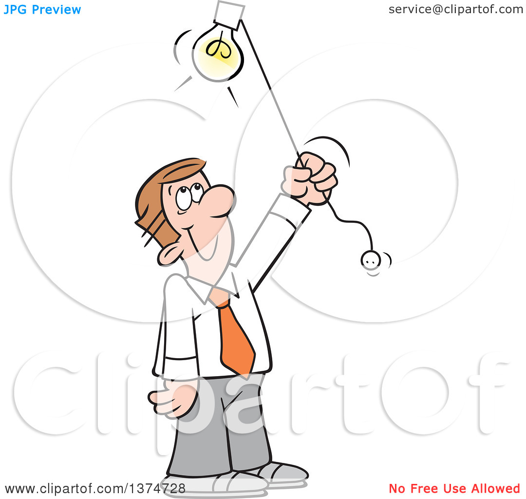 Clipart of a Cartoon Happy Brunette White Man Shedding Light on a.
