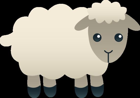 Free clip art of a cute little fluffy white lamb.