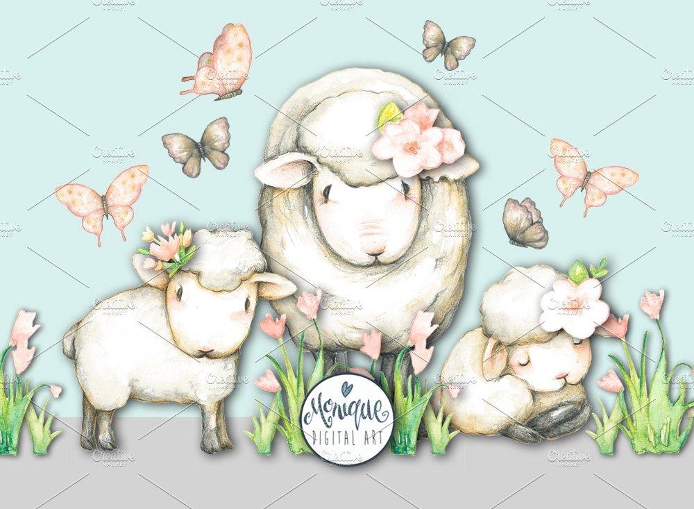 Sheep Lamb Clipart Watercolor.