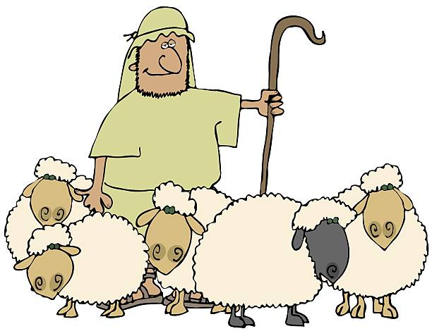 This illustration depicts a shepherd with his herd of sheep.