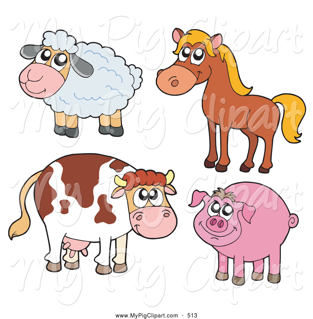 Sheep and pig clipart.