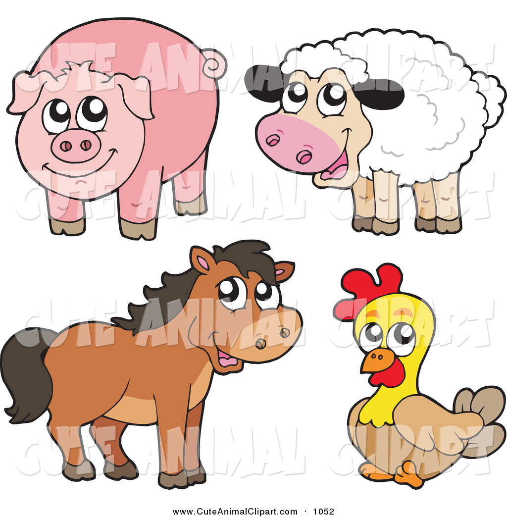 Vector Clip Art of a Cute Cartoon Sheep, Pig, Horse and Chicken by.