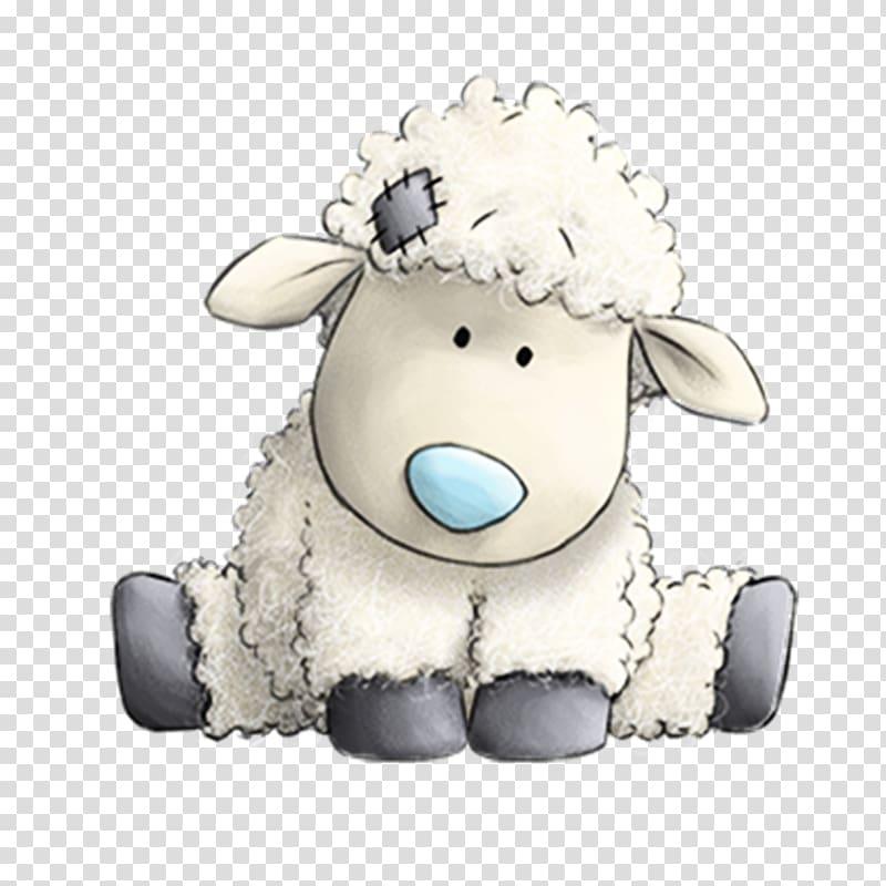 White sheep , Border Leicester Paper Blue Sticker Friendship.