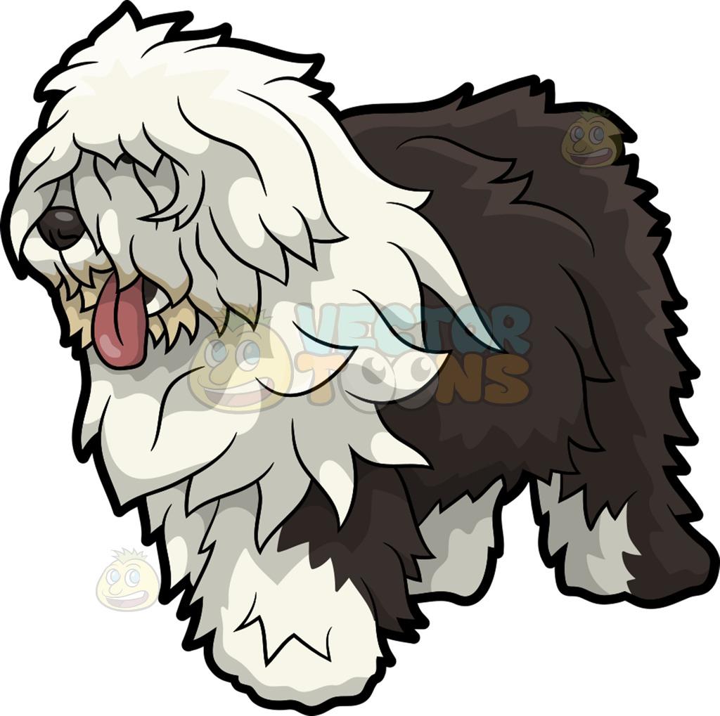 An Old English Sheepdog Dog Cartoon Clipart.