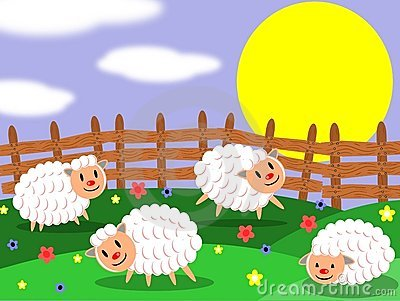 Sheep Field Eating Grass Stock Illustrations.
