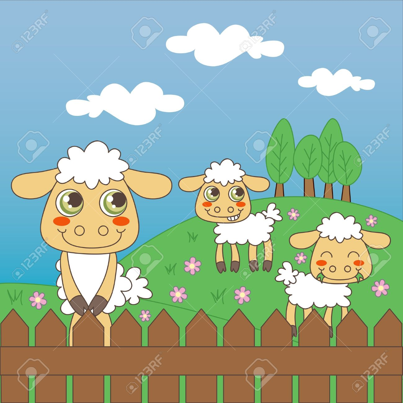 Three Little Cute Sheep Grazing On The Farm Field Royalty Free.