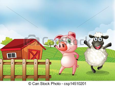 Vector Clipart of A farm with a pig and a sheep.