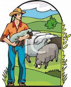 Farmer Holding A Lamb.