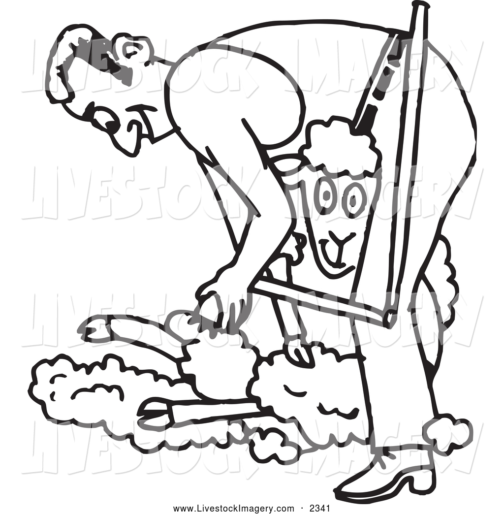 Clip Art of a Black and White Outlined Farmer Shearing a Sheep by.