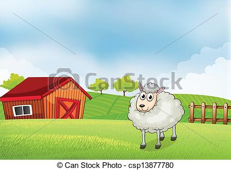 Vector of A sheep in the farm with barn and wooden fence at the.