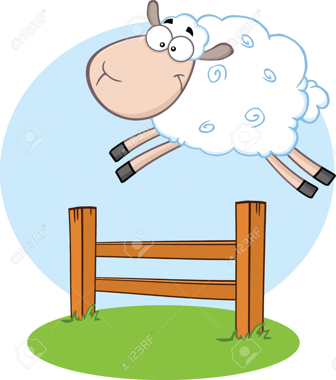 White Sheep Jumping Over The Fence Illustration Isolated On.
