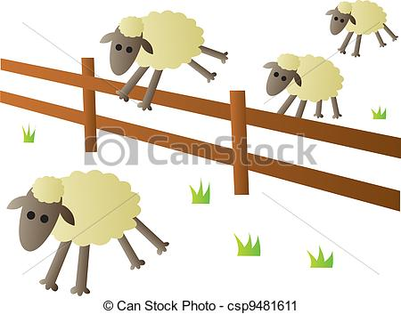 Vector Clip Art of Sheep Jumping Fence.