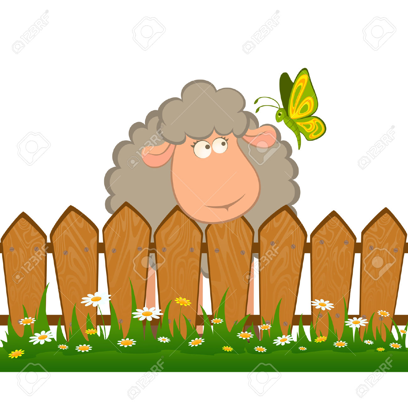 Cartoon Smiling Sheep With Butterfly After A Fence Royalty Free.