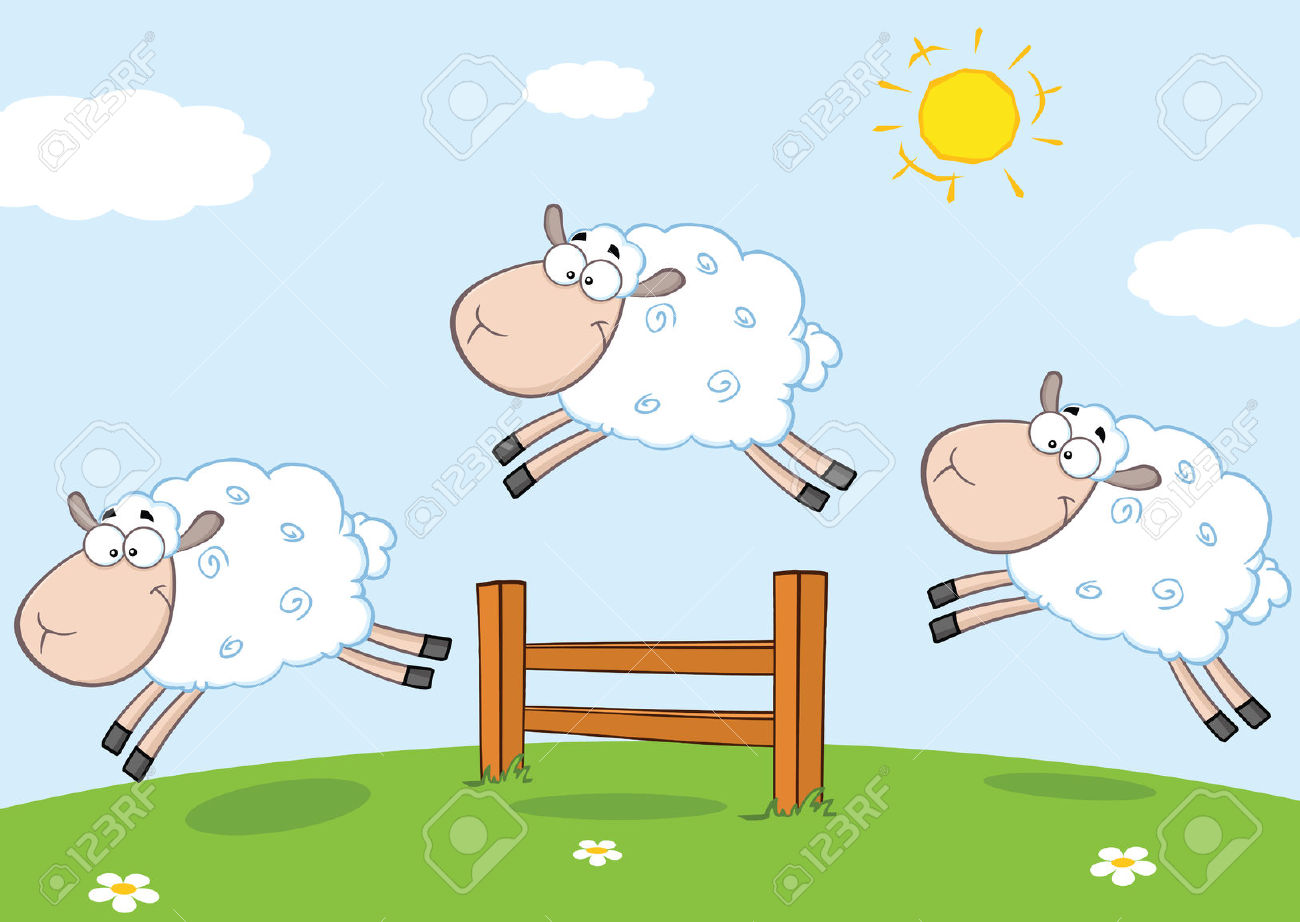 Three Funny Sheep Jumping Over A Fence Royalty Free Cliparts.