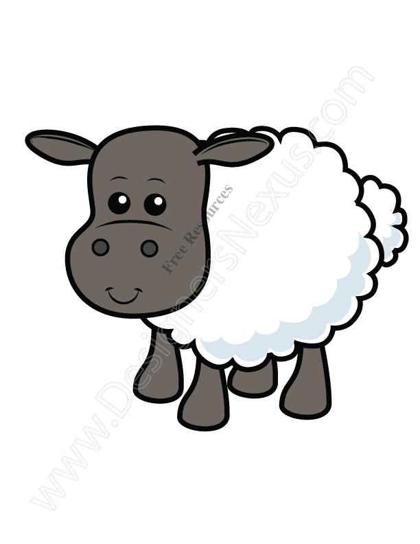 V9 Cute Sheep Vector Graphic / Lamb Clip Art.