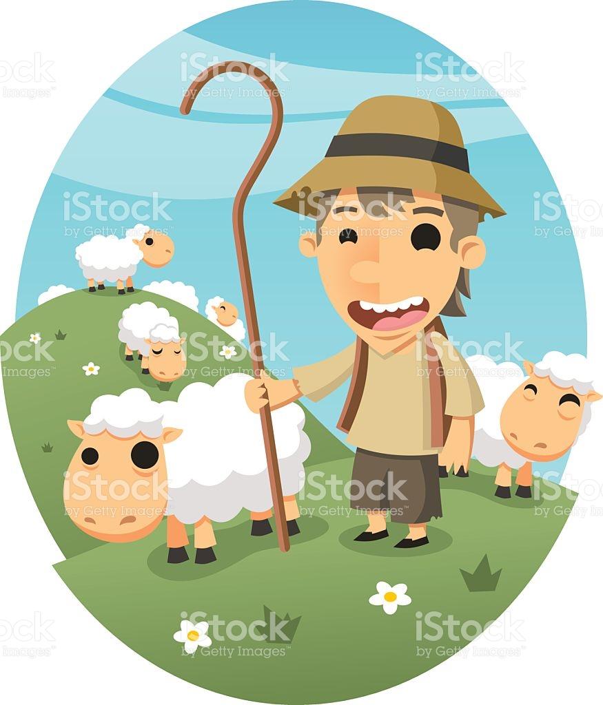 Shepher Boy Sheep Herder stock vector art 480369618.