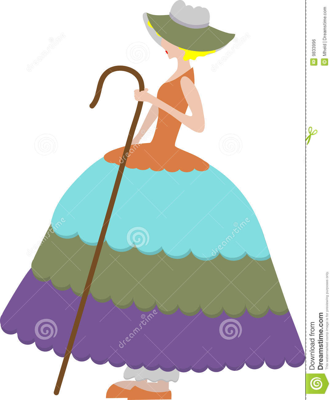 Female Sheep Herder In Large Dress Holding Cane Royalty Free Stock.