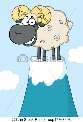 Vector Clipart of Ram Sheep On Top Of A Mountain Peak.