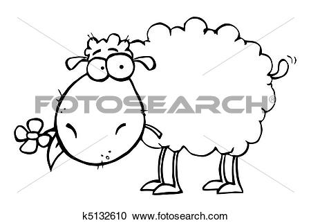 Clipart of Sheep With Flower In Mouth k5132610.