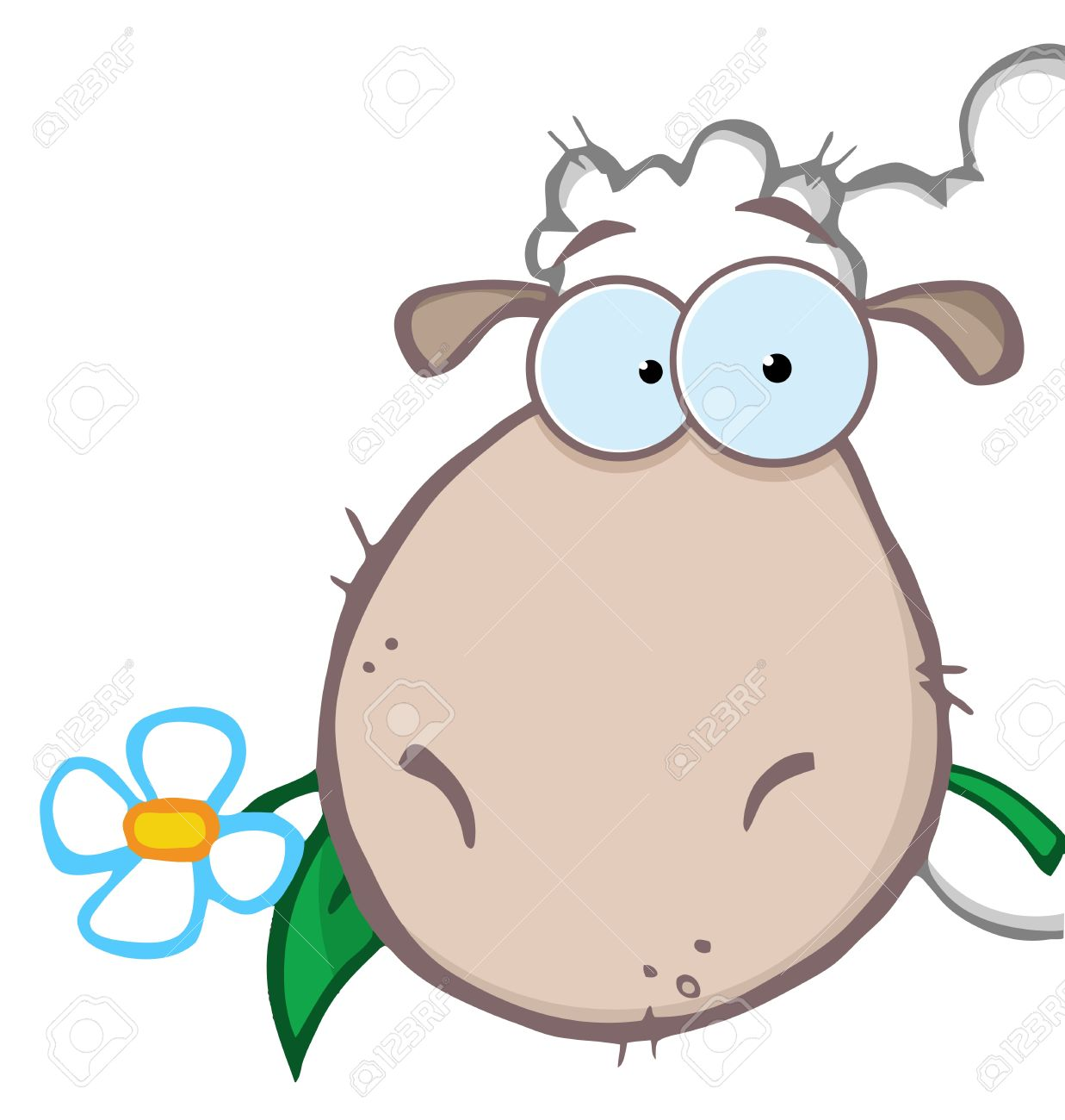 Sheep Head Carrying A Flower In Its Mouth Royalty Free Cliparts.