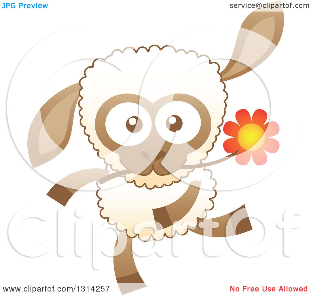Clipart of a Cute Cartoon Happy Baby Sheep Running with a Flower.