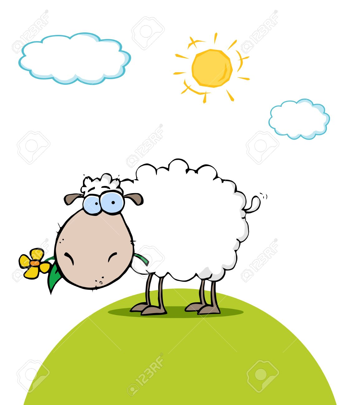 Sheep With Flower In Mouth On A Sunny Day Royalty Free Cliparts.