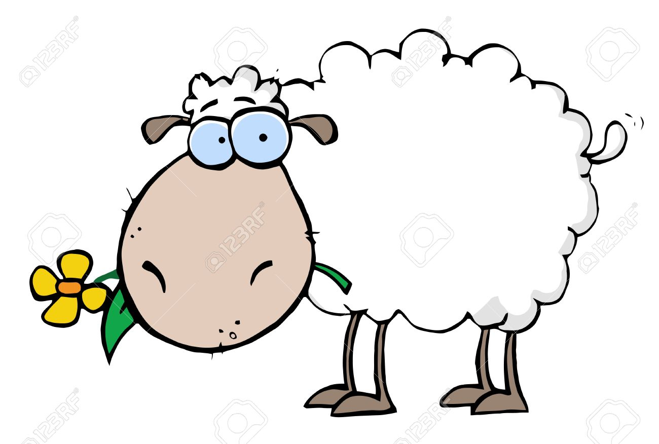 White Sheep Carrying A Flower In Its Mouth Royalty Free Cliparts.