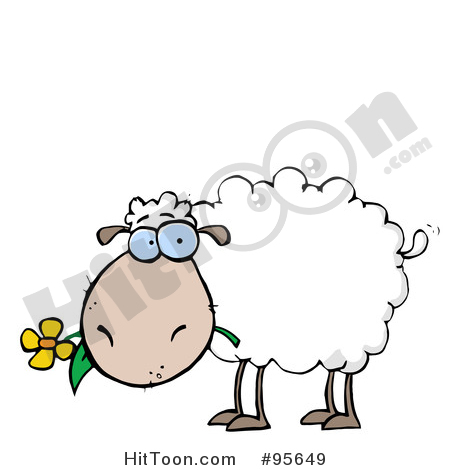 Sheep Clipart #95649: White Sheep Carrying a Flower in Its Mouth.