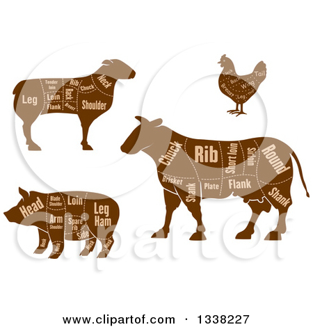 Clipart of Black and White Sketched Ribs.