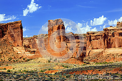 Sheep Rock In Arches National Park Stock Photo.