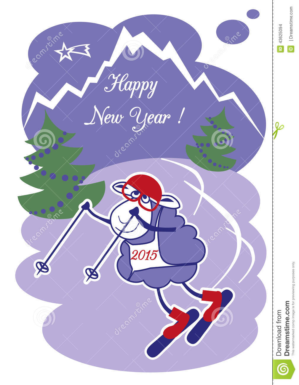 New Year Sheep On The Ski Stock Vector.